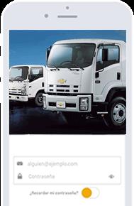 camion Chevroletcon borde del celular