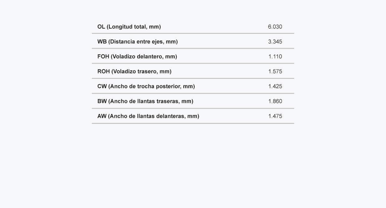Ficha tecnica del NKR Micro Dimensiones